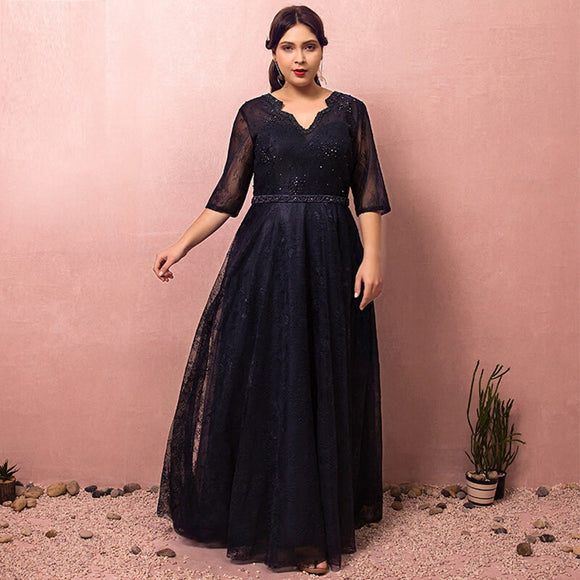Navy Blue Evening Dress Lace Plus Size