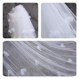 Multi Layers Tulle Wedding Bridal Veil with Flowers and Pearls