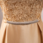 Satin Lace Bridesmaid Dress Appliques Dusty Rose-Ellie