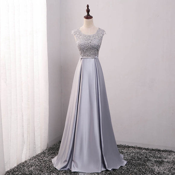 Satin Lace Mother of the Brides Dress Appliques Silver Gray-Ellie