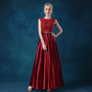 Satin Mother Dress Appliques Burgundy Wine-Ellie