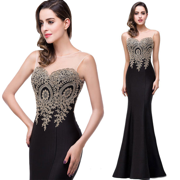 Plus Size Mermaid Bridesmaid Dress Gold Appliques Black-Lynne