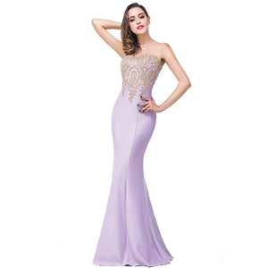 Plus Size Mermaid Bridesmaid Dress Gold Appliques Lavender-Lynne