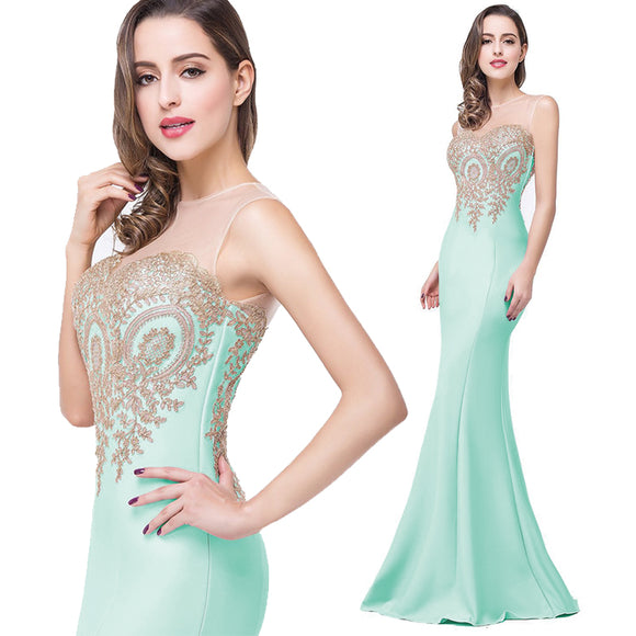 Plus Size Mermaid Bridesmaid Dress Gold Appliques Mint Green-Lynne