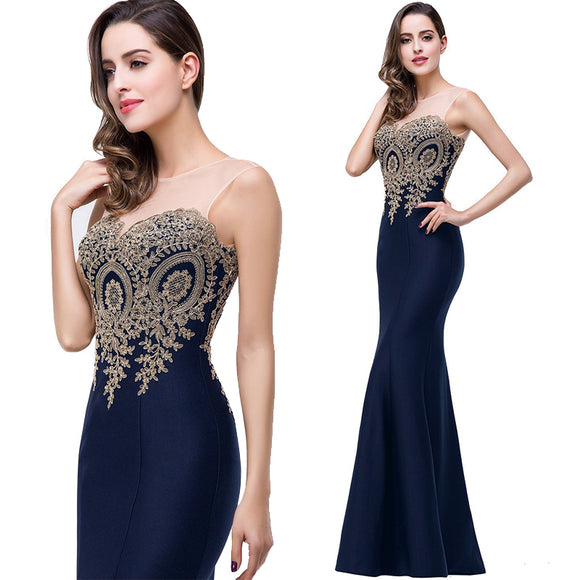 Plus Size Mermaid Bridesmaid Dress Gold Applique Navy Blue-Lynne