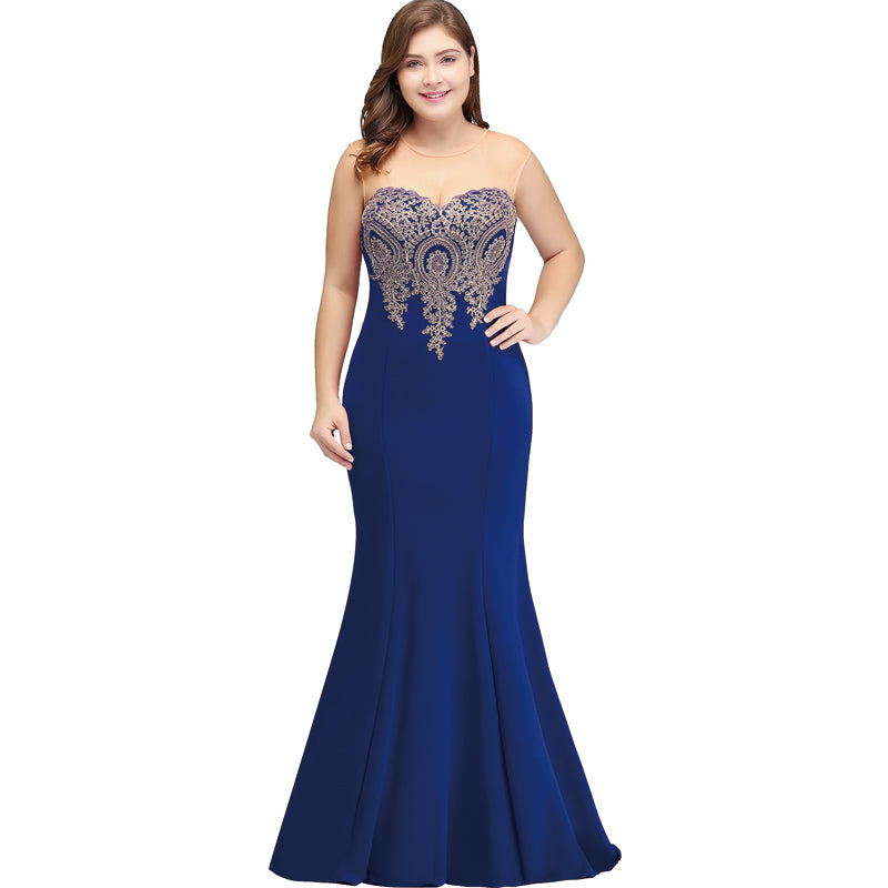 Plus Size Mermaid Bridesmaid Dress Gold Applique Royal Blue-Lynne