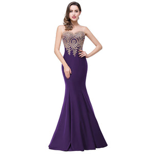 Plus Size Mermaid Bridesmaid Dress Gold Appliques Royal Purple-Lynne
