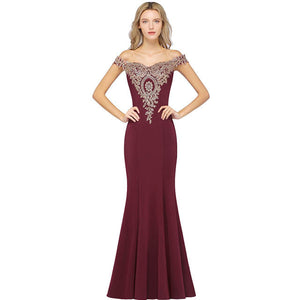 Plus Size Mermaid Bridesmaid Dress Off Shoulder Lace Burgundy-Alina