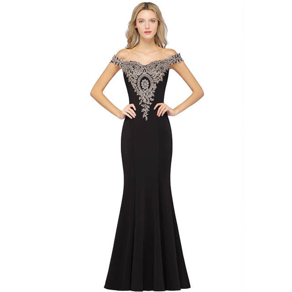 Plus Size Mermaid Bridesmaid Dress Off Shoulder Lace Black-Alina