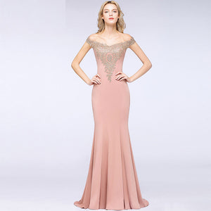 Plus Size Mermaid Bridesmaid Dress Off Shoulder Lace Dusty Pink-Alina