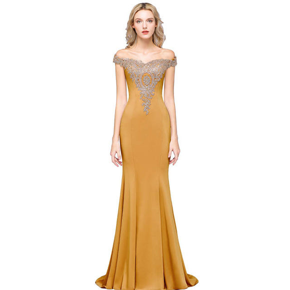 Plus Size Mermaid Bridesmaid Dress Off Shoulder Lace Gold-Alina