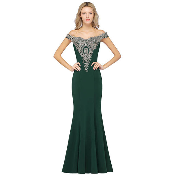 Plus Size Mermaid Bridesmaid Dress Off Shoulder Lace Green-Alina