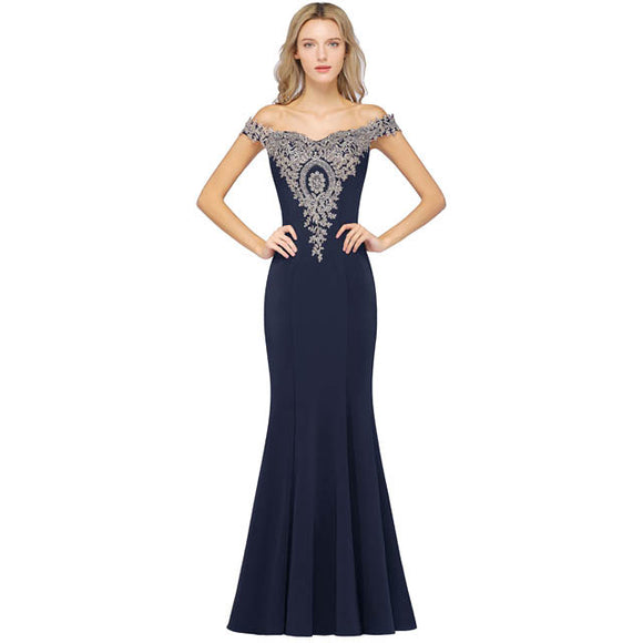 Plus Size Mermaid Bridesmaid Dress Off Shoulder Lace Navy Blue-Alina