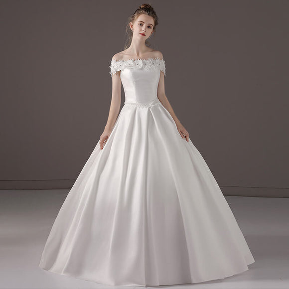Off The Shoulder Romantic Flowers Satin Wedding Gown