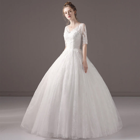Half Sleeves V Cutting Lace Tulle Wedding Gown