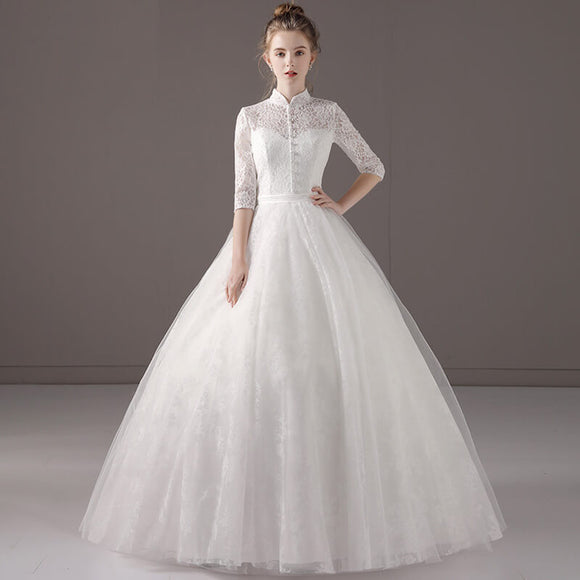[FREE Veil Set] Vintage High Collar Sheer Sweetheart Neck Wedding Bridal Gown