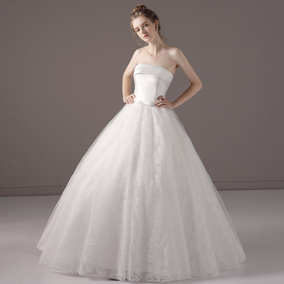 Simple Strapless Slash Neck Wedding Gown for Brides