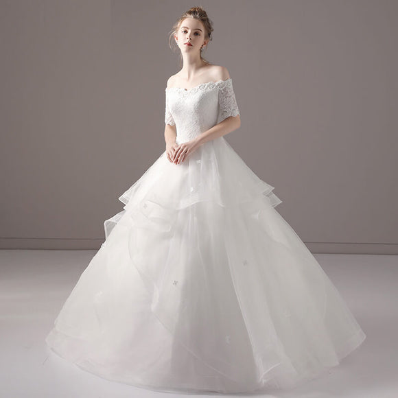 Sweet Off The Shoulder Ruffles Skirt Wedding Gown for Brides