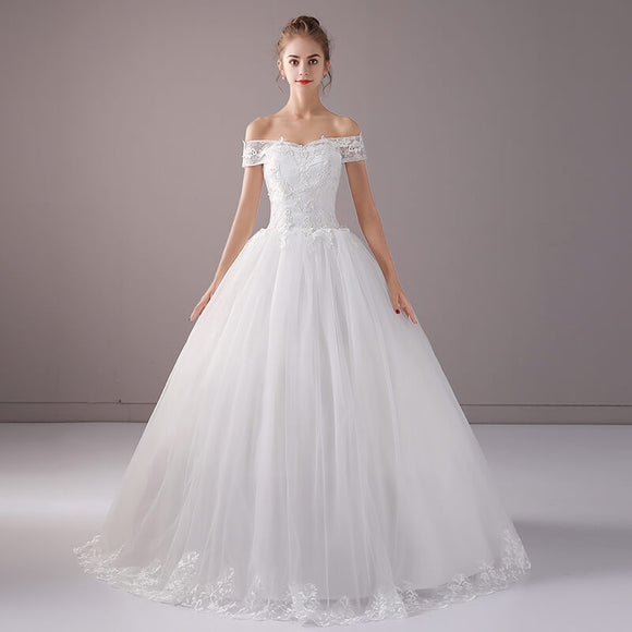 Sweet Off The Shoulder Pleated Skirt Wedding Gown for Brides