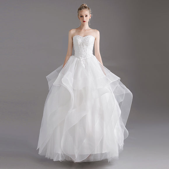 Strapless Sweetheart Asymmetrical Bridal Gowns