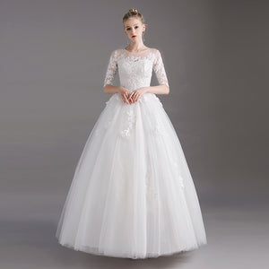 Princess Scoop Neck Lace Wedding Gown for Brides