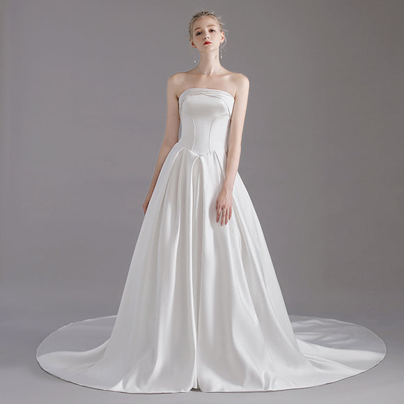Satin Classic Strapless Wedding Gown for Brides
