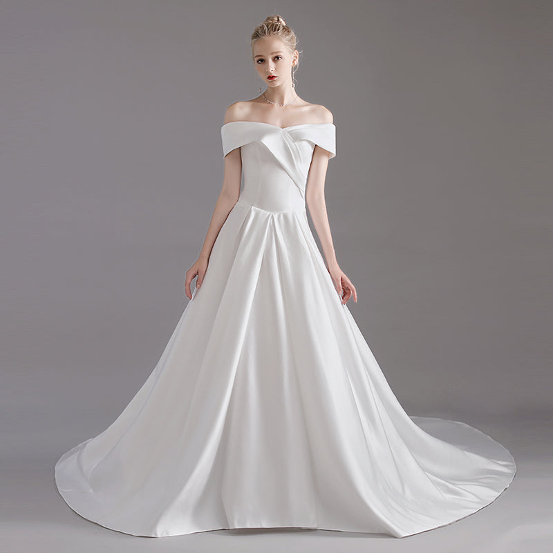 Satin Classic Off The Shoulder Wedding Gown For Brides