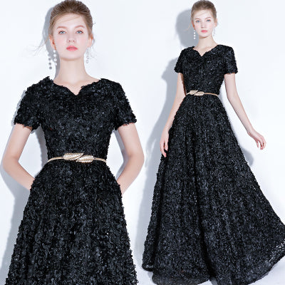 Black Pocket A Line Pleated Noble Formal Evening Dress