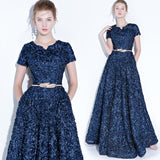 Navy Blue Pocket A Line Pleated Noble Formal Evening Dress