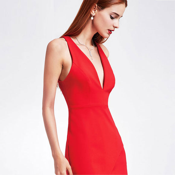 Deep V-Neck Sleeveless Slim Asymmetrical Cocktail Dresses