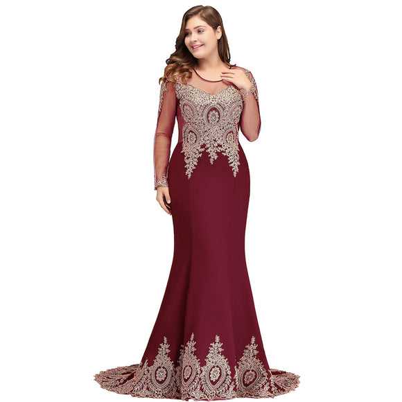 Mermaid Bridesmaid Dress Long Sleeves Lace Burgundy-Tove