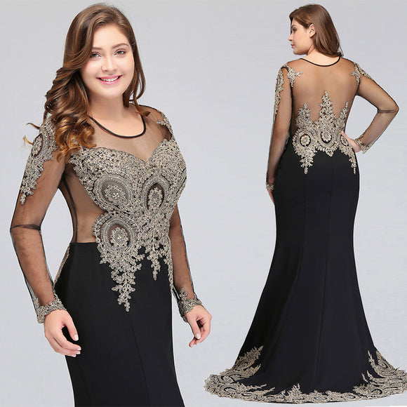 Mermaid Bridesmaid Dress Long Sleeves Lace Black-Tove
