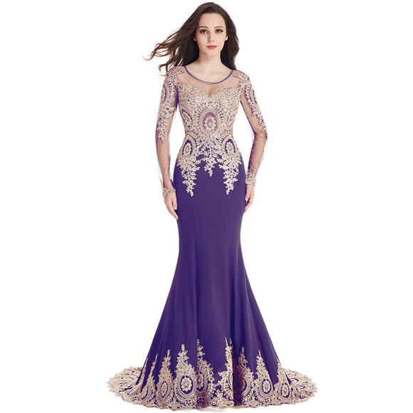 Mermaid Bridesmaid Dress Long Sleeves Lace Royal Purple-Tove