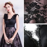Black Satin French Lace Bow Tie Shoulder Mother of Brides Dress