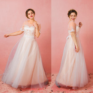[Plus Size] Champagne Sheer Sweetheart Tulle Flowing Bridal Dresses