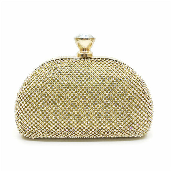 Glimmer Gold Evening Handbag Clutch with Rhinestone