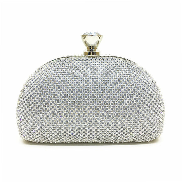 Glimmer Silver Evening Handbag Clutch with Rhinestone