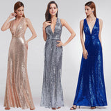 NZ Love Sparkles Sexy V Neck Long Sequins Evening Dress