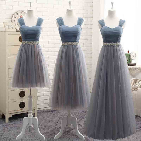 Mix Match Pleated Tulle Straps Dusty Blue Color Block Bridesmaid Dress