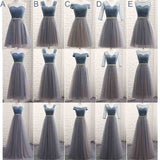 Mix Match Pleated Tulle Dusty Blue Color Block Bridesmaid Dress