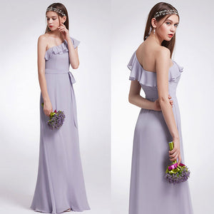 One Shoulder Oblique Neckline Unmovable Belt Bridesmaid Dress