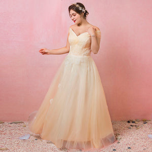 [Plus Size] Champagne Pleated Lace Wedding Dresses for Brides