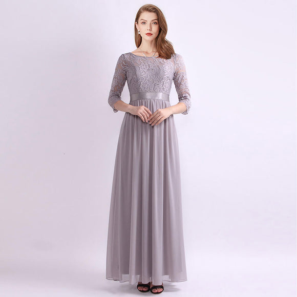 Grey Elegant O-neck Three Quarter Sleeve Lace Mother Of the Bride Dresses