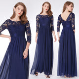 Black Elegant O-neck Three Quarter Sleeve Lace Mother Of the Bride Dresses