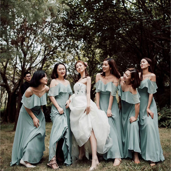 Dusty Green Spaghetti Straps Chiffon A-line Bridesmaid Dress