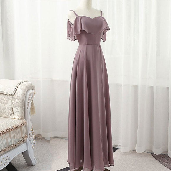 Dusty Purple Cold-Shoulder Flounced Sleeves Chiffon Bridesmaid Dress