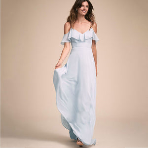 Dusty Jade Cold-Shoulder Flounced Sleeves Chiffon Bridesmaid Dress