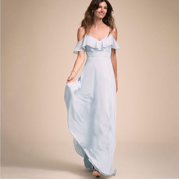 Light Dusty Blue Flounced Sleeves Chiffon Bridesmaid Dress