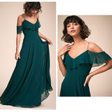 Vintage Green Cold-Shoulder Flounced Sleeves Chiffon Bridesmaid Dress