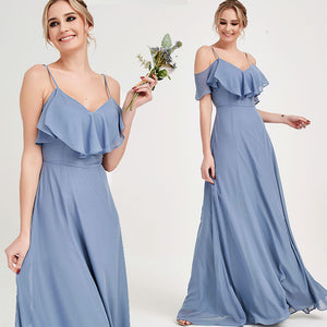 Dusty Blue CONVERTIBLE Bridesmaid Dress-ZOLA